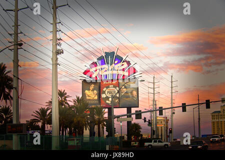 Las Vegas Scenery with evening sky and billboards of casino - Stock Image