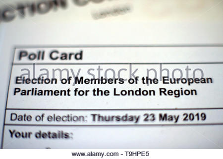 File photo dated 08/05/2019 of a polling card for the European elections as voters across the UK will go to the polls on May 23 to elect Members of the European Parliament. - Stock Image