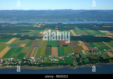 aerial, seigneurial farms, Ile-d'Orleans, Québec - Stock Image