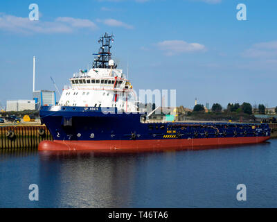 Up Agate a Panamanian registered offshore supply vessel Vessel IMO9667227 moored at Middlesbrough - Stock Image