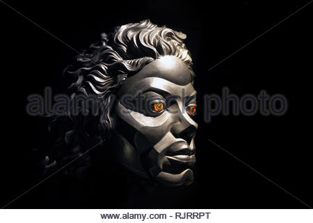 Michael Jackson's robotic face seen in Michael Jackson's Moonwalker, musical film (1988) directed by Jerry Kramer and Colin Chilvers - Stock Image