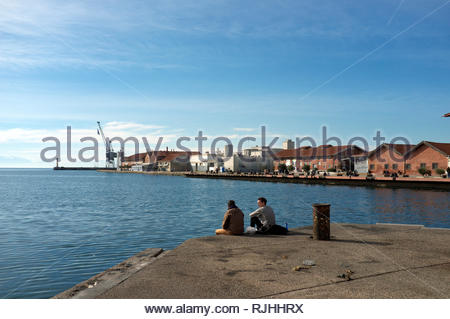 View of Dock A, the old port area of Thessaloniki, in Central Macedonia, Greece. - Stock Image
