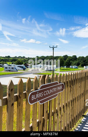 Burrs Country Park station on the East Lancashire Railwa, a new railway station built to serve the Burrs Country Park and caravan club site. - Stock Image