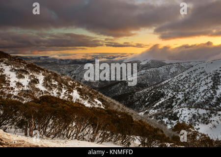 Winter Sunset from Mount Hotham ski resort, Alpine National Park, Victoria, Australia - Stock Image