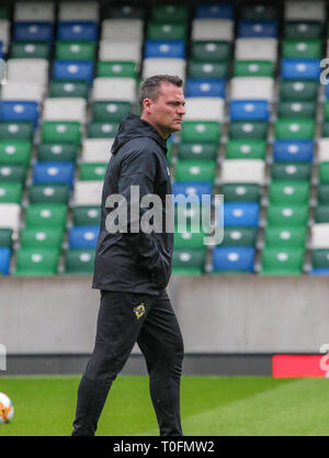 Windsor Park, Belfast, Northern Ireland.20 March 2019.Northern Ireland training in Belfast this morning ahead of their UEFA EURO 2020 Qualifier against Estonia tomorrow night in the stadium. Goalkeeping coach Steve Harper. Credit: David Hunter/Alamy Live News. - Stock Image