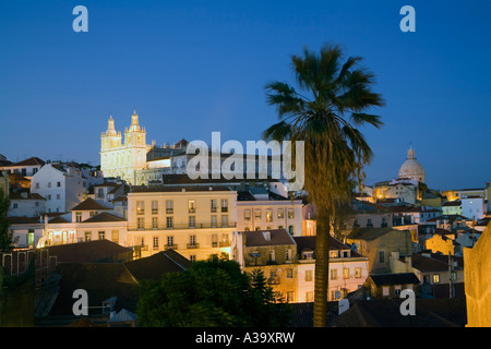 Portugal Lisbon Alfama Miraduro Santa Luzia panoramic view - Stock Image