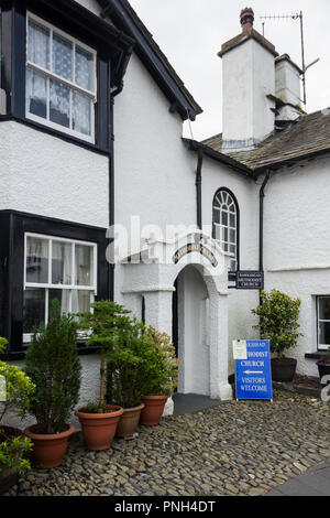 Methodist church exterior, The Square, Hawkshead Cumbria. The building itself was originally a cottage, becoming a chapel in 1862. - Stock Image