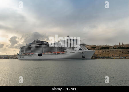 MSC Meraviglia, luxury cruise ship moored in Valletta, malta - Stock Image