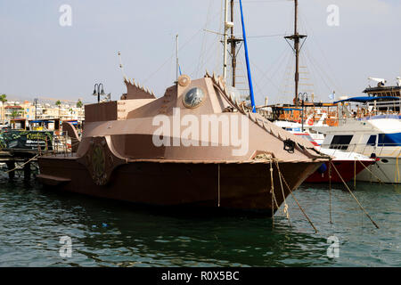 Replica of Jules Vernes Nautilus from 20,000 Leagues under the sea. Paphos Harbour, Cyprus October 2018 - Stock Image