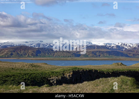 Central snow capped mountains of Iceland viewed from the South - Stock Image