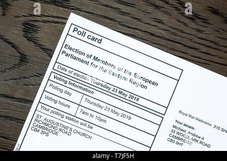 European Parliament election, 2019, poll card. Election of Members of the European Parliament for the Eastern Region. - Stock Image