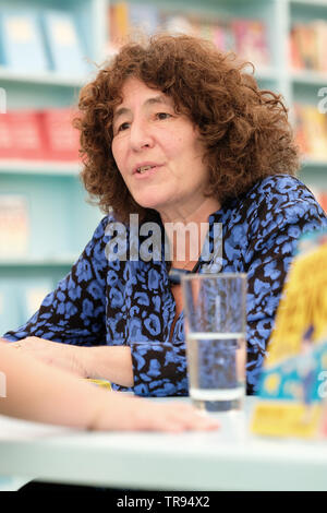Hay Festival, Hay on Wye, Powys, Wales, UK - Friday 31st May 2019 - Children's author Francesca Simon in the Hay Festival bookshop celebrating 25 Years of the Horrid Henry series.  Photo Steven May / Alamy Live News - Stock Image