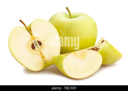 sliced green apple path isolated on white - Stock Image