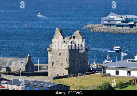 Scalloway harbor and Castle, Scalloway, Mainland, Shetland Islands, Scotland, UK 180701_73755 - Stock Image