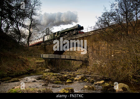"Goathland, North York Moors, UK. 13th March, 2015. Following a £4.2 million overhaul, the LNER Class A3 ""Pacific"" - Stock Image"