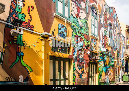 Singapore - 22nd December 2018: Haji lane wall murals. This is in the Kampong Glam area - Stock Image