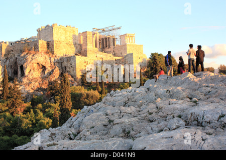 The Areios Pagos (Rock of Ares), view to The Parthenon Acropolis, Athens - Stock Image