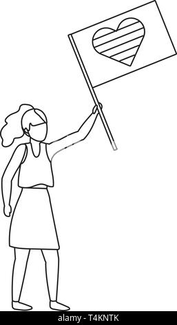 homosexual proud lesbian woman holding lgtbi flag cartoon vector illustration graphic design - Stock Image