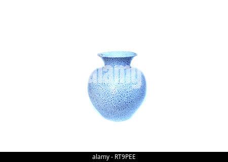 Blue pattern vase on isolated white - Stock Image