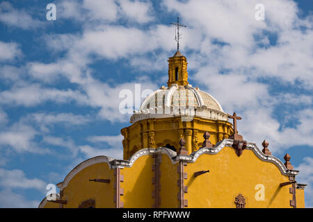 The tiled dome of the Aranzazu Chapel and San Francisco Convent in the Plaza de Aranzazu in the state capital of San Luis Potosi, Mexico. The chapel and convent was built between 1749 and 1760 and features Churrigueresque details and tiled domes. - Stock Image