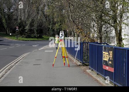 Theodolite, roadside surveying - Stock Image