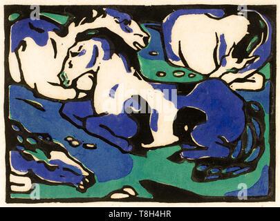 Franz Marc, Resting Horses, woodcut print, 1911 - Stock Image