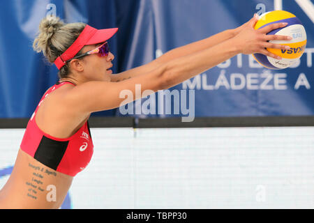 Ostrava, Czech Republic. 01st June, 2019. Brandie Wilkerson (Canada) in action during the four-star J&T Banka Ostrava Beach Open 2019, part of the FIVB Beach Volleyball World Tour, in Ostrava, Czech Republic, on July 1, 2019. Credit: Petr Sznapka/CTK Photo/Alamy Live News - Stock Image