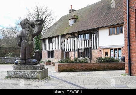 Uckfield East Sussex England UK - Wooden sculptures in the Bell Walk precinct - Stock Image
