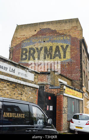 Brymay ghost sign on Lillie Road, Fulham, London, UK - Stock Image