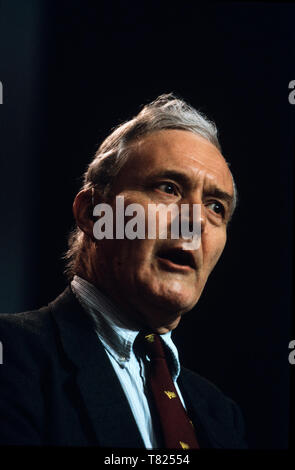 Tony Benn at Labour Party Conference, Bournmouth in October 1985 Anthony Neil Wedgwood Benn (3 April 1925 – 14 March 2014), originally known as Anthony Wedgwood Benn, but later as Tony Benn, was a British politician, writer, and diarist. He was a Member of Parliament (MP) for 47 years between the 1950 and 2001 general elections and a Cabinet minister in the Labour governments of Harold Wilson and James Callaghan in the 1960s and 1970s. Originally a moderate, he was identified as being on the party's hard left from the early 1980s, and was widely seen as a key proponent of democratic socialism - Stock Image