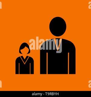 Man Boss With Subordinate Lady Icon. Black on Orange Background. Vector Illustration. - Stock Image