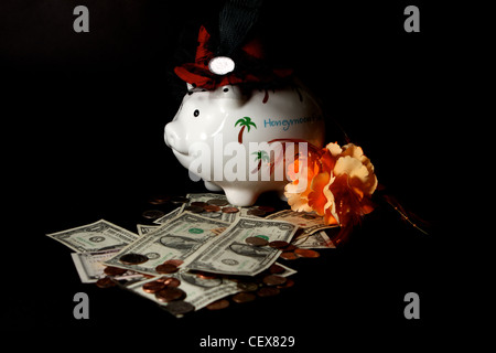 Honeymoon savings Piggy Bank with cash on a black background - Stock Image