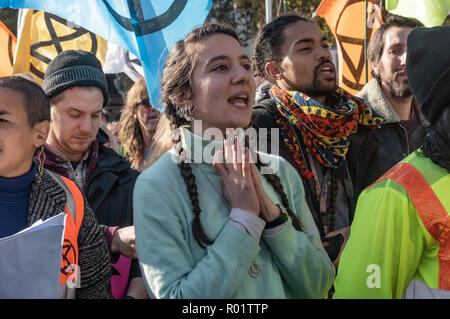 London, UK. 31st October 2018. a protest in Parliament Square hears speeches from climate activists including  Swedish schoolgirl Greta Thunberg, campaigner Donnachadh McCarthy, Labour MP Clive Lewis and economist and Green MEP Molly Scott Cato before making a 'Declaration of Rebellion' against the British Government for its criminal inaction in the face of climate change catastrophe and ecological collapse. Credit: Peter Marshall/Alamy Live News - Stock Image