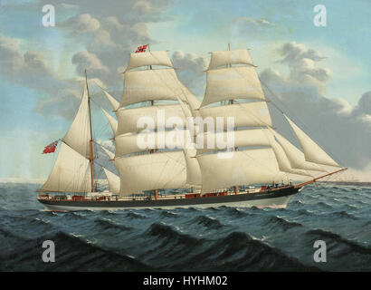 Chinese School   The iron barque Gwrtheyan Castle at sea - Stock Image