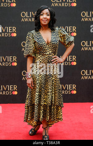 London, UK. 7th Apr 2019. Angellica Bell poses on the red carpet at the Olivier Awards on Sunday 7 April 2019 at Royal Albert Hall, London. Picture by Credit: Julie Edwards/Alamy Live News - Stock Image