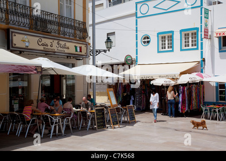 Portugal, Algarve, Albufeira, Shops & Restaurant - Stock Image