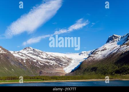 Engabreen or Enga glacier arm of Svartisen ice cap from Holandsfjorden fjord. Meløy municipality, Helgeland, Nordland, Norway, Scandinavia - Stock Image