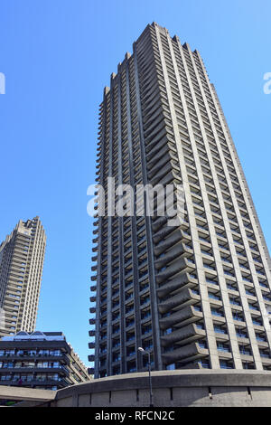 Cromwell Tower, The Barbican Estate, Silk Road, Barbican, City of London, Greater London, England, United Kingdom - Stock Image