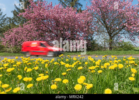 Speeding Royal Mail van in summer countryside - Stock Image