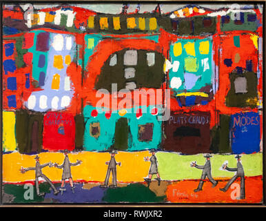 "Jean Dubuffet's ""View of Paris with Furtive Pedestrians"",, The Metropolitan Museum of Art, Manhattan, New York USA - Stock Image"