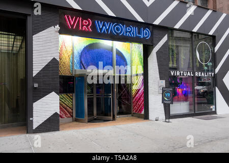 The exterior of VR WORLD, a virtual reality entertainment center on East 34th Street off Herald Square in Manhattan, New York City. - Stock Image