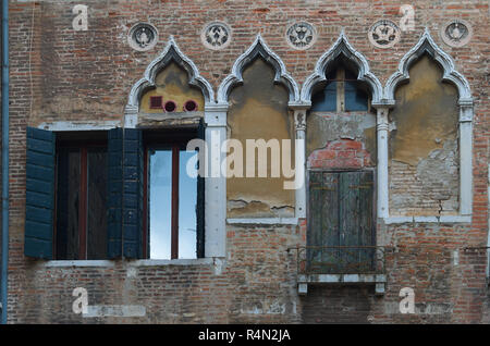 old looking windows in Venice Italy - Stock Image
