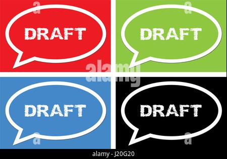 DRAFT text, on ellipse speech bubble sign, in color set. - Stock Image