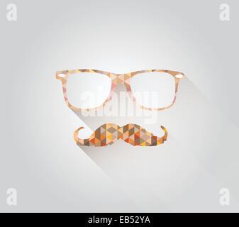 Reading glasses and mustache in triangle design - Stock Image