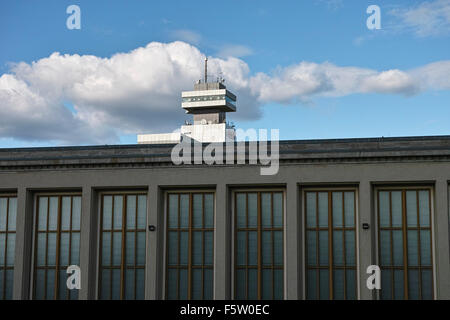 On the Berlin Messe fairground. Old exhibition hall with office building of public broadcast station RBB in the - Stock Image