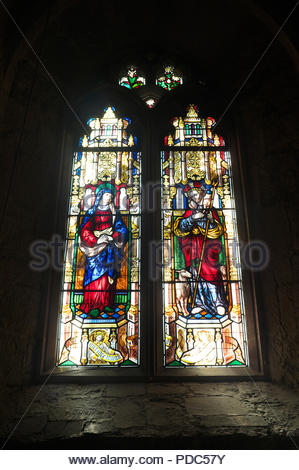 Stained glass window in the Parish Church of St Mary the Virgin, Charlcombe, near Bath, UK. - Stock Image