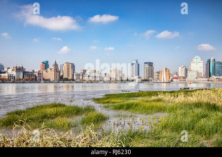 1 December 2018: Shanghai, China - The east bank of the Huangpu River on the Pudong side, opposite The Bund, Shanghai. - Stock Image