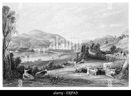 The River Nith  Abhainn Nid Auldgirth Bridge and Blackwood House Dumfrieshire  South West Scotland circa 1830 - Stock Image