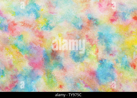 Colorful summer watercolor rainbow abstract or natural vintage texture background - Stock Image