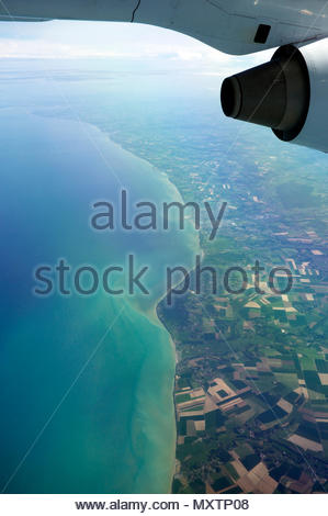 View from an aeroplane of the northern French coast (Dieppe port centre of image). English Channel/France. - Stock Image
